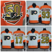 Wholesale 50th Anniversary Philadelphia Flyers Jerseys Claude Giroux Wayne Simmonds Shayne Gostisbehere Winter Classic Gold Hockey Wears
