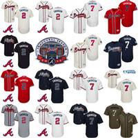 achat en gros de atlanta baseball jersey-2017 Inauguration SunTrust Park Patch commémoratif Atlanta Braves Hommes # 2 Dansby Swanson # 7 Base Cool MLB Jersey Couture taille S-4XL