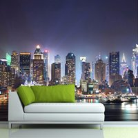 Wholesale Custom D Photo Wallpaper New York City Night Scenery Mural Wallpaper Living Room Study Sofa Background Wall Papers Home Decor