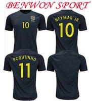 Men authentic jersey football - Benwon Brazil away black soccer jerseys NEYMAR JR OSCAR WILLIAN football shirts best quality authentic football jerseys