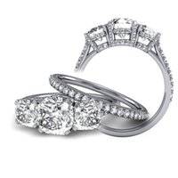 accent stone - 3 ct Natural Cushion Stone Cathedral Accent Stones Diamond Bridal Set