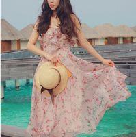 achat en gros de achats de robe-La nouvelle écolière féminine d'été à l'achat de jupons imprimé floral imprimé en mousseline de soie jupe jupe jupe