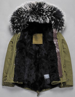 Wholesale black fur Mr Mrs furs rabbit fur lining canvas army green parka MMI men fur parkas