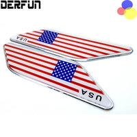 american aluminum doors - 2x United States USA American Flag For Cadillac Chevrolet Ford Buick JEEP Front Fender Wing Emblem Badge Decals Sticker