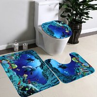 Wholesale May Mosunx Business set Bathroom Non Slip Blue Ocean Style Pedestal Rug Lid Toilet Cover Bath Mat drop shipping