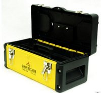 Wholesale deer new double layer plastic iron tool box tool parts storage box reinforced inch inch inch