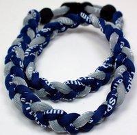 Promoción - el béisbol 350PCS / Lot se divierte el azul oscuro trenzado trenzado azul de la cuerda del titán 3 GE Collar RT072