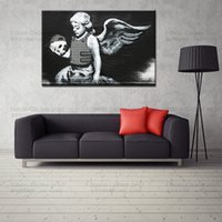 Environmental friendly oil ink angels art prints - Large Canvas Prints Banksy Skull Angel canvas print street art graffiti picture wall decor painting living room wall picture photo on canvaS