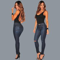 best seller jeans - 2017 European Fashion Holes Close Show Thin And Small Foot Jeans Ma am Trousers Best Sellers The new listing Hot