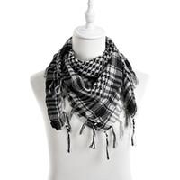 arab neck scarf - New Unisex Colors Women Men Checkered Arab Grid Neck Keffiyeh Palestine Scarf Wrap hot sale
