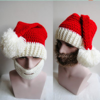 best dong - Best selling Europe and the United States foreign trade beard qiu dong Christmas hat manual knitting hat for men and women