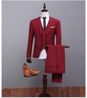 Acheter Images conviennent le mieux-Peel Lapel Fashion 2017 Nouveau Style Deux Boutons Groom Tuxedos Meilleur Homme Costumes Mariage (Veste + Pant + Waistcoat) XH038 Real Picture