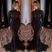 Wholesale Cheap Fashion Long Sleeve Evening Dresses Bling Bing Black Sequins High Neck Mermaid Sexy Celebrity Gowns Pageant Prom Dresses