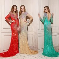 Wholesale 2016 Celebrity oscar red carpet gown mermaid bling crystal applique long sleeve Prom Gowns Formal Custom Evening Party Club Wear