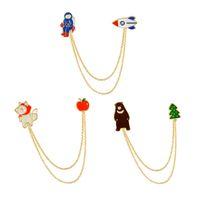 asian handbags - Cute Style Chain Tassel Brooch Astronaut Bear Wolf Collar Shirt Pin Jacket Denim Handbag Decor