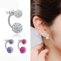 Wholesale New Double Side Earrings Fashion Crystal Disco Ball Shamballa Stud Earrings For Women Bottom Is Stainless Steel christmas gifts HJIA1146