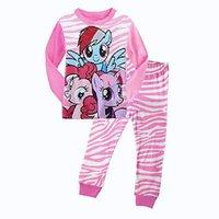 Boy Winter Cotton,Polyester Wholesale- Cartoon My Little Toddler Kids Baby Girls Nightwear Pajamas Set Sleepwear Home-wear Pj's Clothing Suit 1-7Y