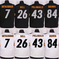 Wholesale Men s Stitched Elite Football Ben Roethlisberger Le Veon Bell Troy Polamalu Antonio Brown Black White Jerseys Mix Order
