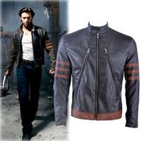Wholesale halloween Cosplay Costume fashion winter leather Xmen jacket leather Xmen costume men motorcycle jacket XS XXXL