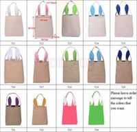 Wholesale New styles Easter Bunny Ear Bags DIY Embroider Cotton Linen Basket Bag Easter Gift Packing Handbags For Children Festival Bag EHB01