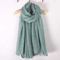 Wholesale Cotton and linen scarf female in the spring and autumn winter pure color joker literary giant silk scarves shawls and flax long students