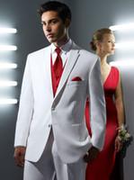 White Mens Suits Robe rouge pour fête de mariage 2017 Robe en tricot à trois pièces en noeud