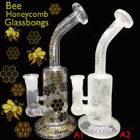 bee hands - 7 quot Heady White frosted bee honeycomb glass bongs Oil bongs Honeycomb Hand glass pipe bubbler glass water pipes glass bong