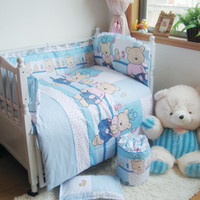 Wholesale Blue Bear Cotton Sheet Quilt Pillow Bumpers Winter Bedding Cover For Newborn Boys Girls Size set Baby Bedding Suit