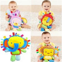 bb elephant - New Infant Soft Appease Toys Monky Elephant Lion Rabbit Playmate Calm Doll Newborn Baby Toys With BB Ring Rattles Plush Toy