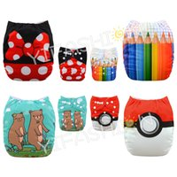 Wholesale 4pcs Position Printed Reusable Nappies for baby fit pounds Washable pocket diapers with pc microfiber inserts