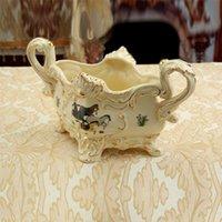 Wholesale Porcelain fruit bowl ivory porcelain god horses design embossment outline in gold decorative fruit bowls housewarming gifts