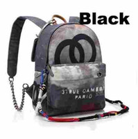Wholesale Graffiti Printed Canvas Backpack rope bag embroidered with multicolored print canvas backpack school bag