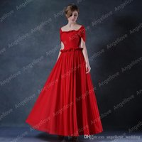 Cheap Sexy Strapless Long Bridesmade Dresses Cap Sleeve Pleats Ruched Chiffon Long Wedding Party Dress Red Bridesmaid Gowns Real photos