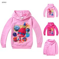 Wholesale Troll Costume Girl Hoodies Clothes Spring Autumn Children Long Sleeve Cartoon Poppy Hooded Sweatshirt Top Clothing Year