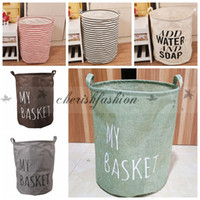 Wholesale Fedex DHL Free Large Storage Laundry Hamper Clothes Basket Storage Useful ZAKKA canvas Cotton Linen Children Toy Bucket Bin Z202 B