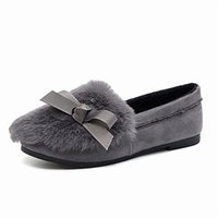 Wholesale Autumn Winter Flat Heel Shoes Women Bow Rabbit Fur Casual Loafers Cotton All match Moccasins Flats Round Toe Shoes