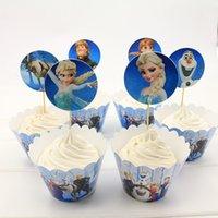achat en gros de reine topper-Grossiste-Neige Reine Elsa Anna Cupcake Wrapper et Toppers pour les enfants Fête d'anniversaire Décoration de Noël Fournitures Décoratifs Artisanat
