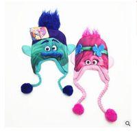 baby bomber hat - Hats Kids Winter Trolls Poppy Costume Cartoon Trolls boys girls Bomber Hats For Boy Girl Baby Bobby geeks Magic Elf Caps