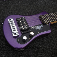 Wholesale Easy taking Custom Metallic Purple Left Handed Hofner Shorty Travel Guitar Protable Mini Electric guitar With Cotton Gig Bag