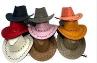 artificial adjust - Men Women Wild Jazz Wind Suede Panama Cowboy Cowgirl Western Hat Sunhat Adjust Cord