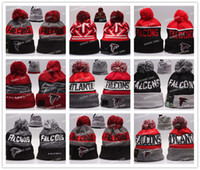 Wholesale 24 Colors New winter Hot Falcons Football Pom Atlanta Beanies Football Beanies Knit Beanie Hats Warm Winter Caps Sports Team Hats