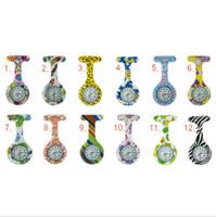 Wholesale Nurse watch Silicone Colorful Print Medical Quartz pocket Watch Brooch Tunic Watch fashion accessories