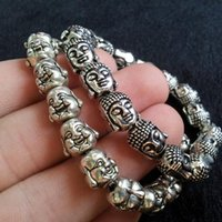 Wholesale 42g AAA Unique Tibetan silver Stainless steel Buddha head bracelet for Men and Women amulet Charm Bracelets