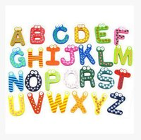 Wholesale Children Kids English Alphabet Refrigerator Magnets Big Anti Rust Thickened Baby Wooden Fridge Magnet Magnetic Sticker