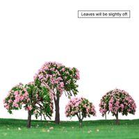 Оптовые-Diorama миниатюрные игрушки для детей Дети белые и розовые цветочные деревья 4 шт Пластиковые модели Деревья Поезд Макет Сад Scenery