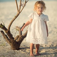 Wholesale new Summer fashion ins girls cotton short sleeve embroidery white dress pick size years