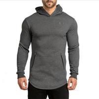 Wholesale New Arrival Fashion Men s Long Black Hoodies Sweatshirts Feece With Side Zip Longline Hip Hop Streetwear Shirt