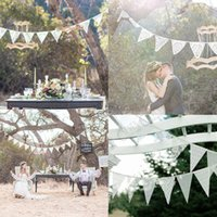 Vente en gros - Tissu à la main Lace Bunting Flags Rustic Wedding Fete Banner Country Garden Party Décorations Shabby Chi