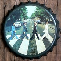 Wholesale Beatles Walking Vintage round tin sign bottle cap design beer cap Beer Metal bar poster metal craft for home bar restaurant coffe shop