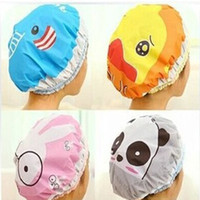 bath lions - 1PC Bathroom Accessories Waterproof Shower Hat Elastic Band Hat Bath Hat Cute Cartoon Rabbit Elepant Lion Duck Panda Shower Hats